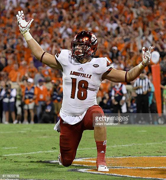 Cole Hikutini of the Louisville Cardinals reacts during the fourth quarter against the Clemson Tigers at Memorial Stadium on October 1 2016 in...