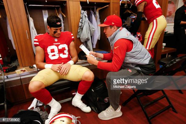 Cole Hikutini of the San Francisco 49ers sits in the locker room prior to the game against the Arizona Cardinals at Levi's Stadium on November 5 2017...