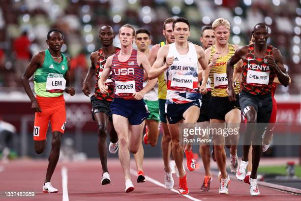 Cole Hocker of Team United States, Jake Wightman of Team Great Britain, Robert Farken of Team Germany and Timothy Cheruiyot of Team Kenya compete in...