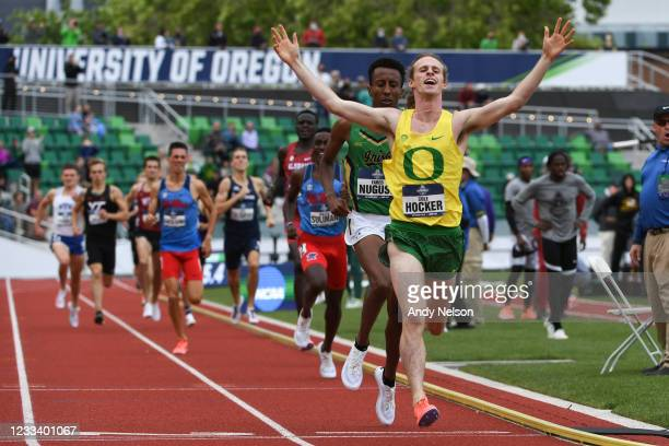 Cole Hocker of the Oregon Ducks reacts as he wins the men's 1500 meter race during the Division I Men's and Women's Outdoor Track & Field...