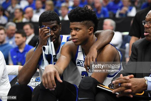 Cole Huff and Justin Patton of the Creighton Bluejays react late in their loss to the Rhode Island Rams during the first round of the 2017 NCAA Men's...