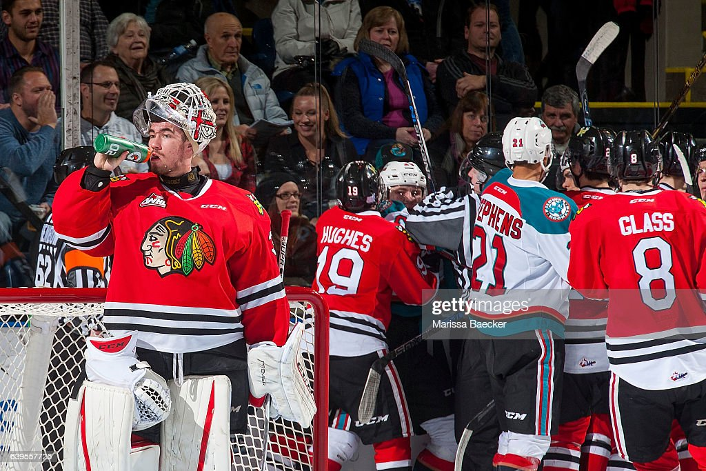 Cole Kehler #31 of the Portland Winterhawks stands in net as ice officials sort out roughing penalties against the Kelowna Rockets on January 21, 2017 at Prospera Place in Kelowna, British Columbia, Canada.