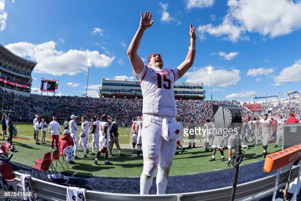 Cole Kelley of the Arkansas Razorbacks cheers with the fans during a game against the Ole Miss Rebels at Hemingway Stadium on October 28 2017 in...