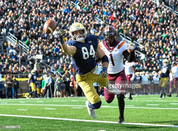 Cole Kmet of the Notre Dame Fighting Irish can't make the catch in the end zone in the first half against Reggie Floyd of the Virginia Tech Hokies at...