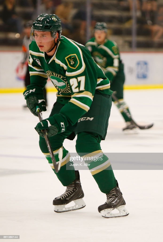 Cole Koepke #27 of the Sioux City Musketeers skates during the game against the Cedar Rapids RoughRiders on Day 1 of the USHL Fall Classic at UPMC Lemieux Sports Complex on September 28, 2017 in Cranberry Township, Pennsylvania.