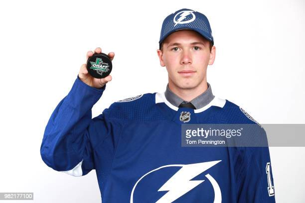 Cole Koepke poses after being selected 183rd overall by the Tampa Bay Lightning during the 2018 NHL Draft at American Airlines Center on June 23 2018...