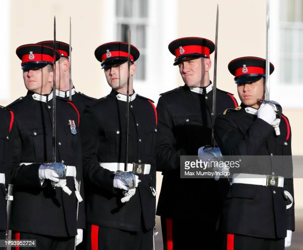 Cole Manhart former NFL Offensive Lineman with the Pittsburgh Steelers takes part in The Sovereign's Parade at the Royal Military Academy Sandhurst...