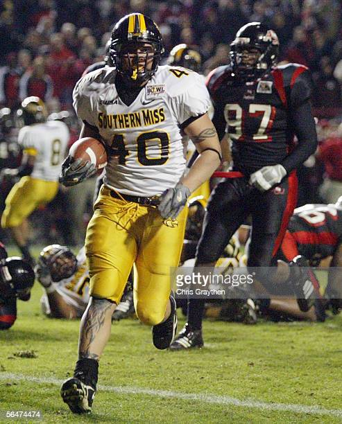 Cole Mason of Southern Miss scores a touchdown in the second quarter against Arkansas State during The New Orleans Bowl on December 20 2005 at Cajun...
