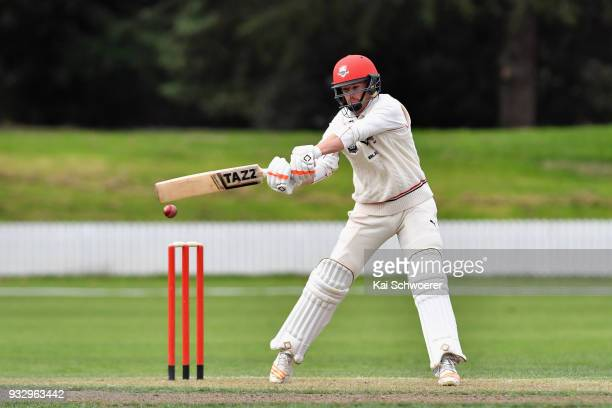 Cole McConchie of Canterbury bats during the Plunket Shield match between Canterbury and Auckland on March 17 2018 in Rangiora New Zealand