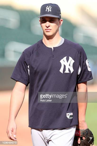 J Cole of the New York Yankees looks on before the game against the Minnesota Twins at Target Field on Monday September 10 2018 in Minneapolis...