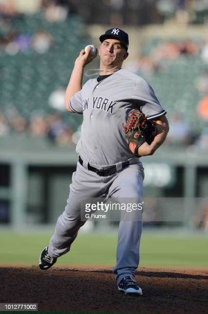 J Cole of the New York Yankees pitches against the Baltimore Orioles during game one of a doubleheader at Oriole Park at Camden Yards on July 9 2018...