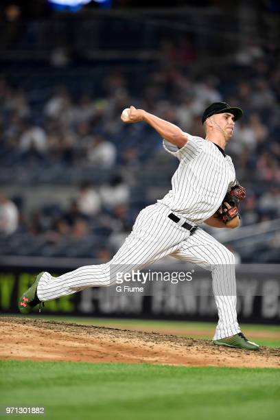 J Cole of the New York Yankees pitches against the Los Angeles Angels at Yankee Stadium on May 26 2018 in New York City
