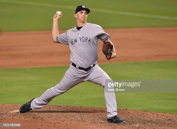 J Cole of the New York Yankees pitches against the Miami Marlins at Marlins Park on August 21 2018 in Miami Florida