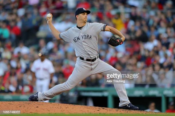 J Cole of the New York Yankees pitches during the game against the Boston Red Sox at Fenway Park on Sunday September 30 2018 in Boston Massachusetts