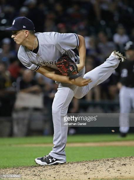 J Cole of the New York Yankees pitches the 9th inning against the Chicago White Sox at Guaranteed Rate Field on August 6 2018 in Chicago Illinois The...