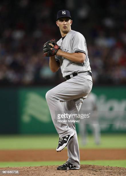 J Cole of the New York Yankees throws against the Texas Rangers in the fourth inning at Globe Life Park in Arlington on May 22 2018 in Arlington Texas