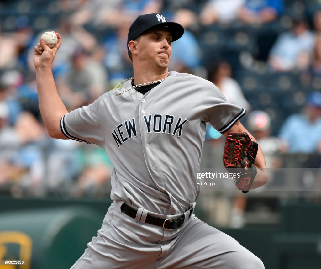 A.J. Cole #67 of the New York Yankees throws in the ninth inning against the Kansas City Royals at Kauffman Stadium on May 20, 2018 in Kansas City, Missouri.