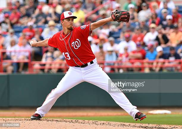 J Cole of the Washington Nationals pitches during the Spring Training game against the Detroit Tigers at Space Coast Stadium on March 5 2016 in Viera...