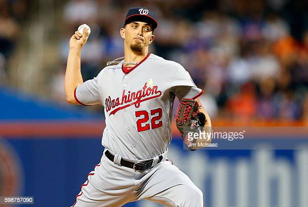 J Cole of the Washington Nationals pitches in the first inning against the New York Mets at Citi Field on September 2 2016 in the Flushing...