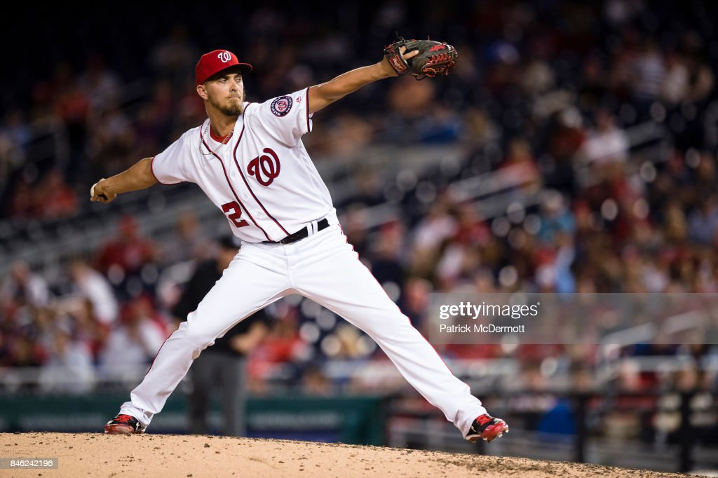 A.J. Cole #22 of the Washington Nationals throws a pitch to a Atlanta Braves batter in the sixth inning at Nationals Park on September 12, 2017 in Washington, DC.