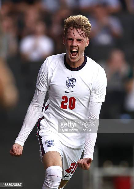 Cole Palmer of England celebrates after scoring his teams second goal during the UEFA Under 21 Qualifier between England v Kosovo at Stadium MK on...