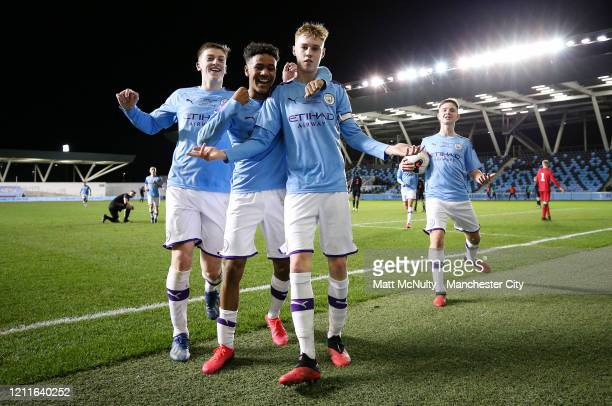 Cole Palmer of Manchester City celebrates after scoring his teams fourth goal during the Under 18's Premier League 2 Cup Final at The Academy Stadium...