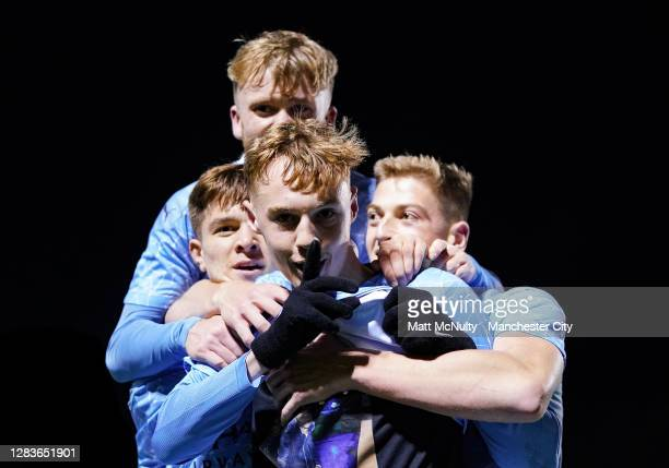 Cole Palmer of Manchester City celebrates after scoring his teams third goal during the FA Youth Cup Final match between Manchester City and Chelsea...