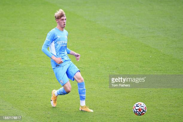 Cole Palmer of Manchester City controls the ball during the pre-season friendly match between Manchester City and Blackpool at Manchester City...