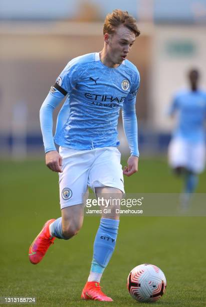 Cole Palmer of Manchester City during the Premier League 2 match between Manchester City and Manchester United at Manchester City Football Academy on...