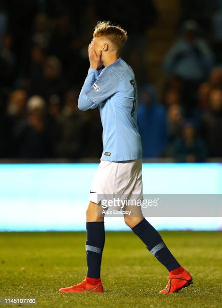 Cole Palmer of Manchester City reacts after missing a penalty during a penalty shoot out in the FA Youth Cup Final between Manchester City and...