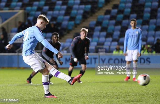 Cole Palmer of Manchester City scores his teams sixth goal during the Under 18's Premier League 2 Cup Final at The Academy Stadium on March 10 2020...