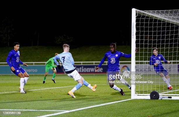 Cole Palmer of Manchester City scores his teams third goal during the FA Youth Cup Final match between Manchester City and Chelsea at St Georges Park...