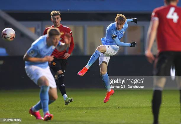 Cole Palmer of Manchester City scores their third goal during the Premier League 2 match between Manchester City and Manchester United at Manchester...