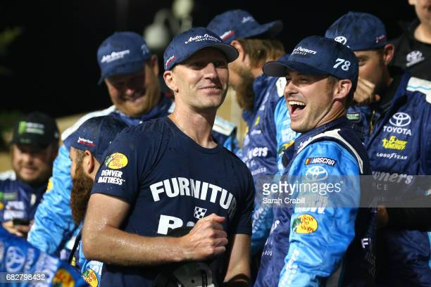 Cole Pearn crew chief of the AutoOwners Insurance Toyota celebrates in Victory Lane after winning the Monster Energy NASCAR Cup Series Go Bowling 400...