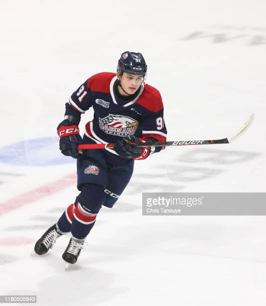 Cole Perfetti of the Saginaw Spirit skates during an OHL game against the Oshawa Generals at the Tribute Communities Centre on October 6, 2019 in...