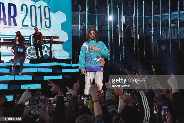 Cole performs at halftime during the 68th NBA All-Star Game at Spectrum Center on February 17, 2019 in Charlotte, North Carolina.
