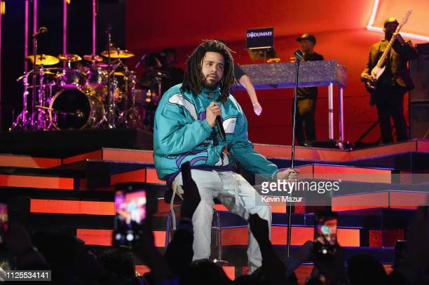 J Cole performs at halftime during the 68th NBA AllStar Game at Spectrum Center on February 17 2019 in Charlotte North Carolina