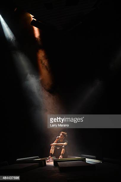 J Cole performs at The Perfect Vodka Amphitheater on August 18 2015 in West Palm Beach Florida