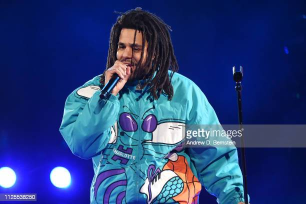 J Cole performs during halftime of the 2019 NBA AllStar Game on February 17 2019 at the Spectrum Center in Charlotte North Carolina NOTE TO USER User...