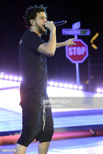 J Cole performs during his 'Forest Hills Drive' tour at Red Rocks Amphitheatre on August 25 2015 in Morrison Colorado