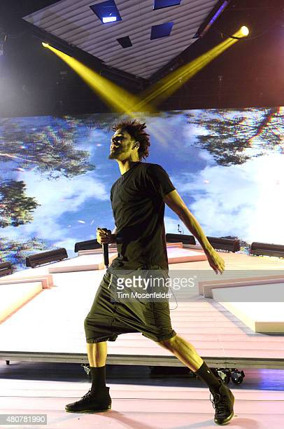 J Cole performs during his 'Forest Hills Drive Tour' at Shoreline Amphitheatre on July 14 2015 in Mountain View California