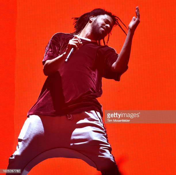 J Cole performs during his KOD Tour at ORACLE Arena on August 29 2018 in Oakland California