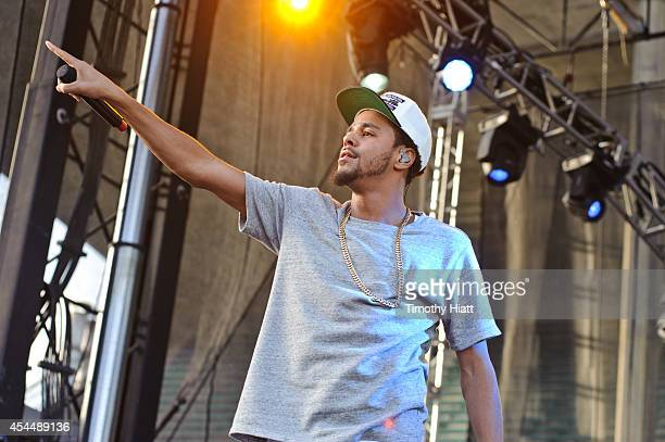 J Cole performs on day three of the Bumbershoot Music and Arts Festival September 1 2014 in Seattle Washington