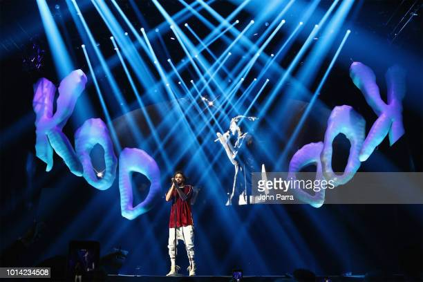 J Cole performs on stage for his KOD Tour Opener at American Airlines Arena on August 9 2018 in Miami Florida