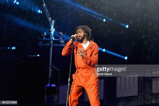 J Cole performs onstage during the 2017 Budweiser Made in America festival Day 1 at Benjamin Franklin Parkway on September 2 2017 in Philadelphia...