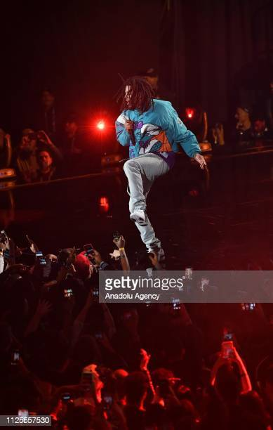 Cole performs the halftime show at the Team LeBron vs Team Giannis at the 68th NBA Allstar 2019 at Spectrum Arena in Charlotte NC United States on...