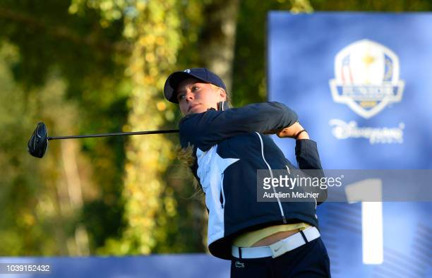 Cole Ponich of Team USA tees off on the 10th hole during the fourballs on day one of the 2018 Junior Ryder Cup at Disneyland Paris on September 24...