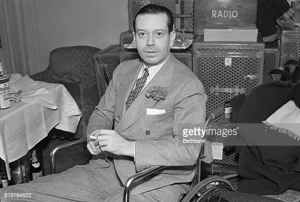 Cole Porter song writer and playwright shown in his cabin aboard the Santa Paula December 16th as he sailed for a combined vacation and business...