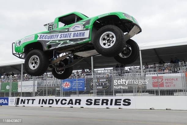 Cole Potts from Scottsdale, Arizona,USA on the race during the SPEED Energy Stadium SUPER Trucks race on July 12 the first day of the Honda Indy in...