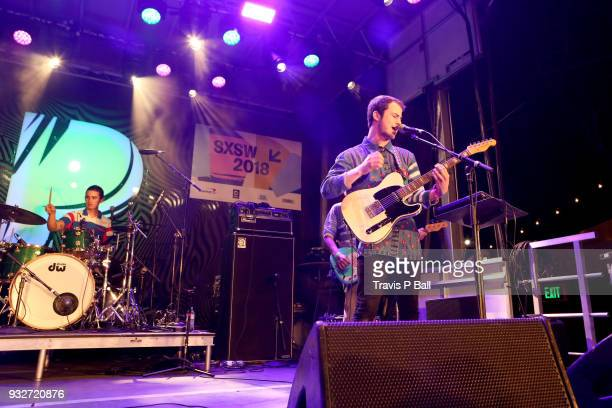 Cole Preston and Dylan Minnette of Wallows perform onstage at Pandora during SXSW at Stubb's BarBQ on March 15 2018 in Austin Texas